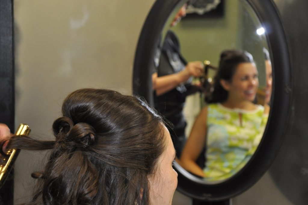 Close-up of the work that goes into the hair by Indulgences Hair & Body Salon