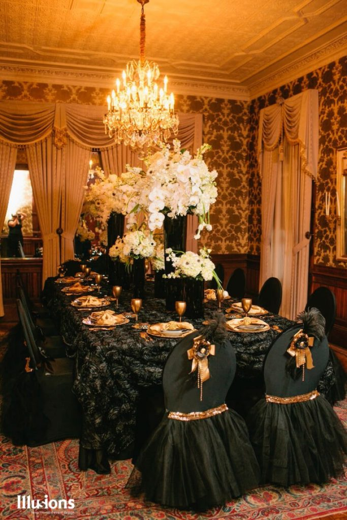 wonderful transformation of a banquet space! This dark and light scheme by Illusions Tents, Rentals, & Design is marvelous!