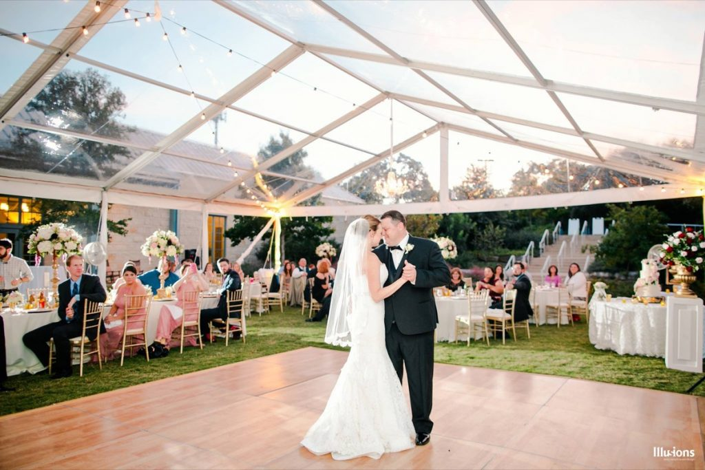 First dance as wife and husband. Glorious, memorable scene as furnished by Illusions Tents, Rentals, & Design