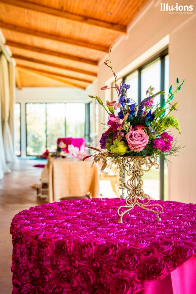 Bright color and textures are a trademark of Illusions Tents, Rentals, & Design!
