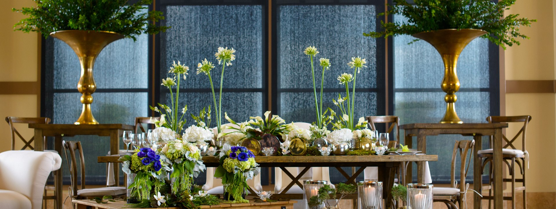 A long table embellished by Flair Floral