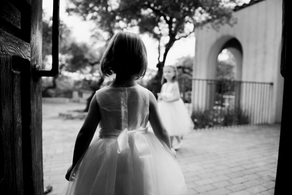 A little girl gets ready for her big moment-as a flower girl! At Lost Mission.