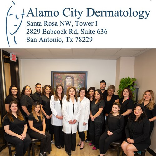 Alamo City Dermatologists logo with full staff.