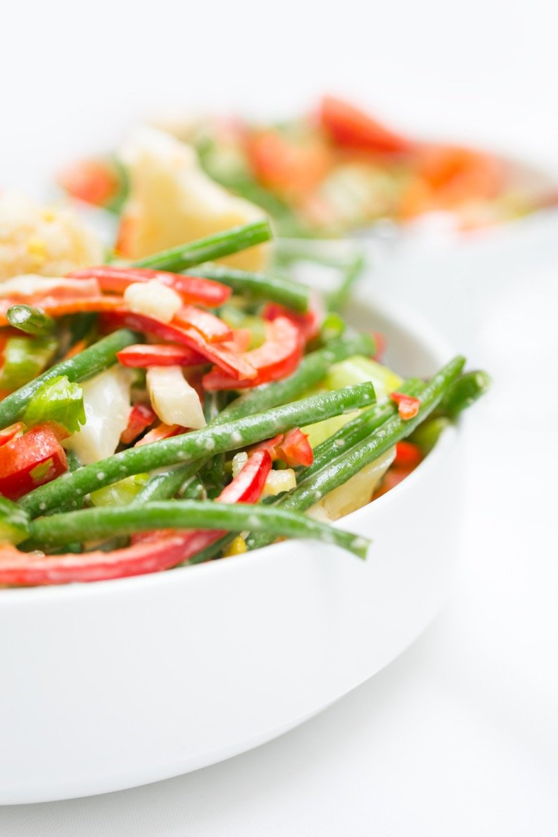 Absolutely Delicious close-up detail of green bean salad.