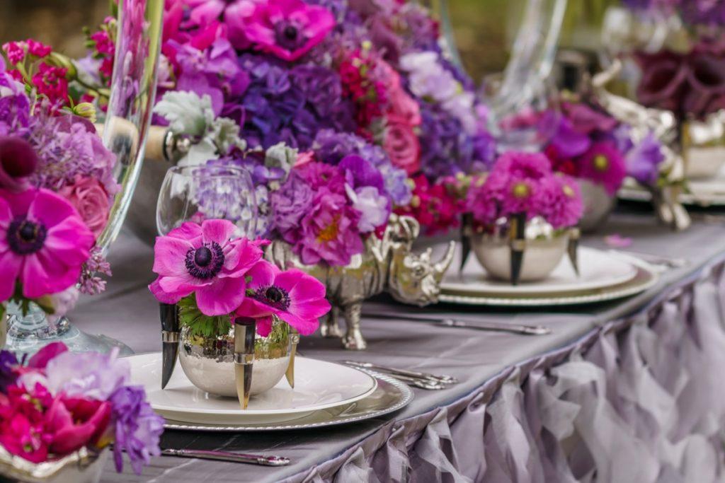 Alamo Plants & Petals presents a lavender, purple explosion of color on this tabletop