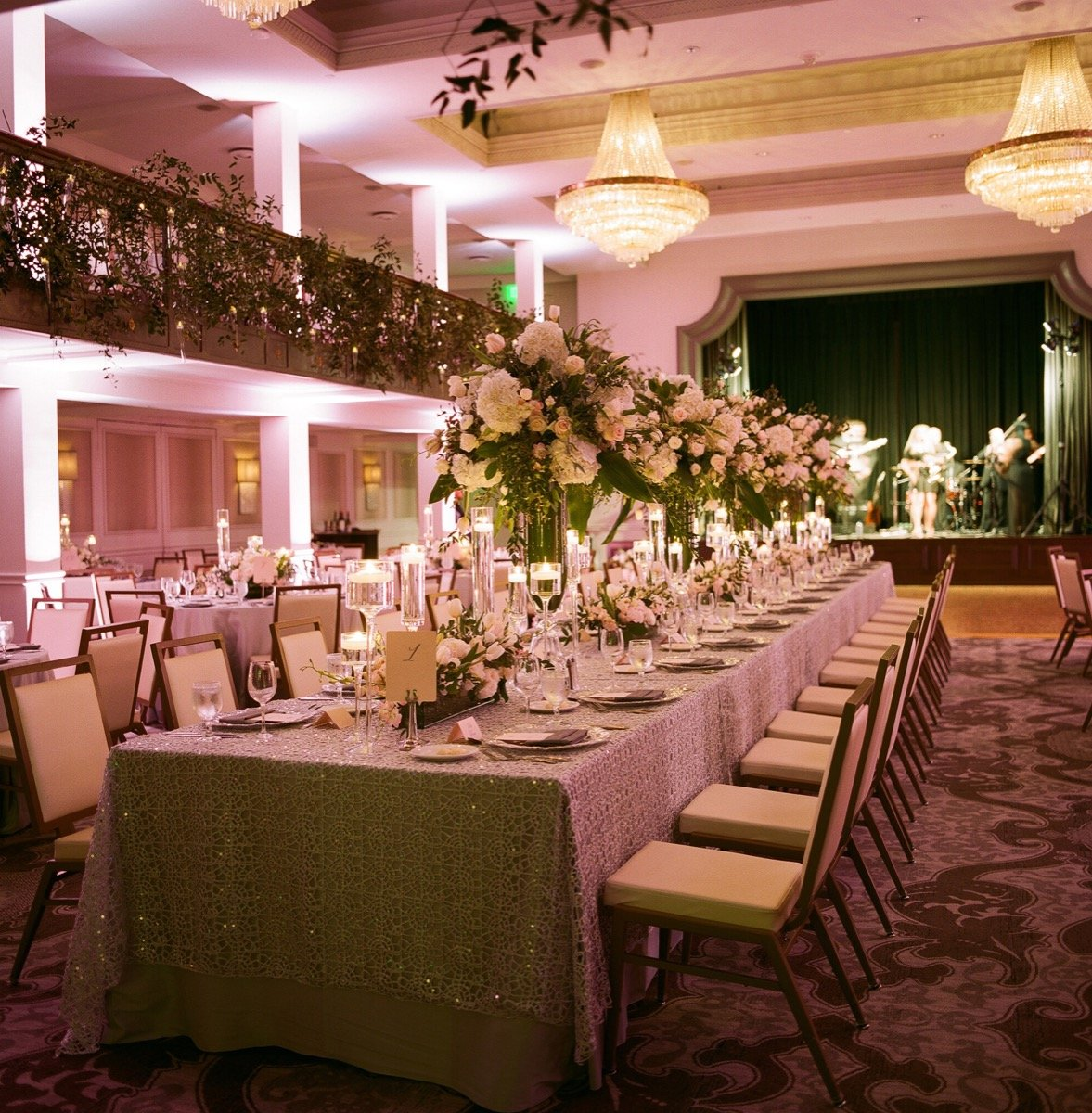 Alamo Plants & Petals adorned the St. Anthony Hotel's Anacacho Room with glorious flowers throuhout.