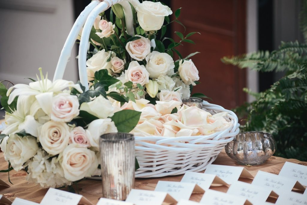Alamo Plants & Petals demonstates a proper white and blush roses in a basket
