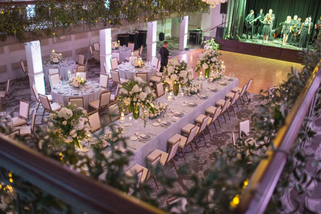 Alamo Plants & Petals shows an overview picture taken from the second floor of the St. Anthony Hotels Anachaco Room Banquet space.