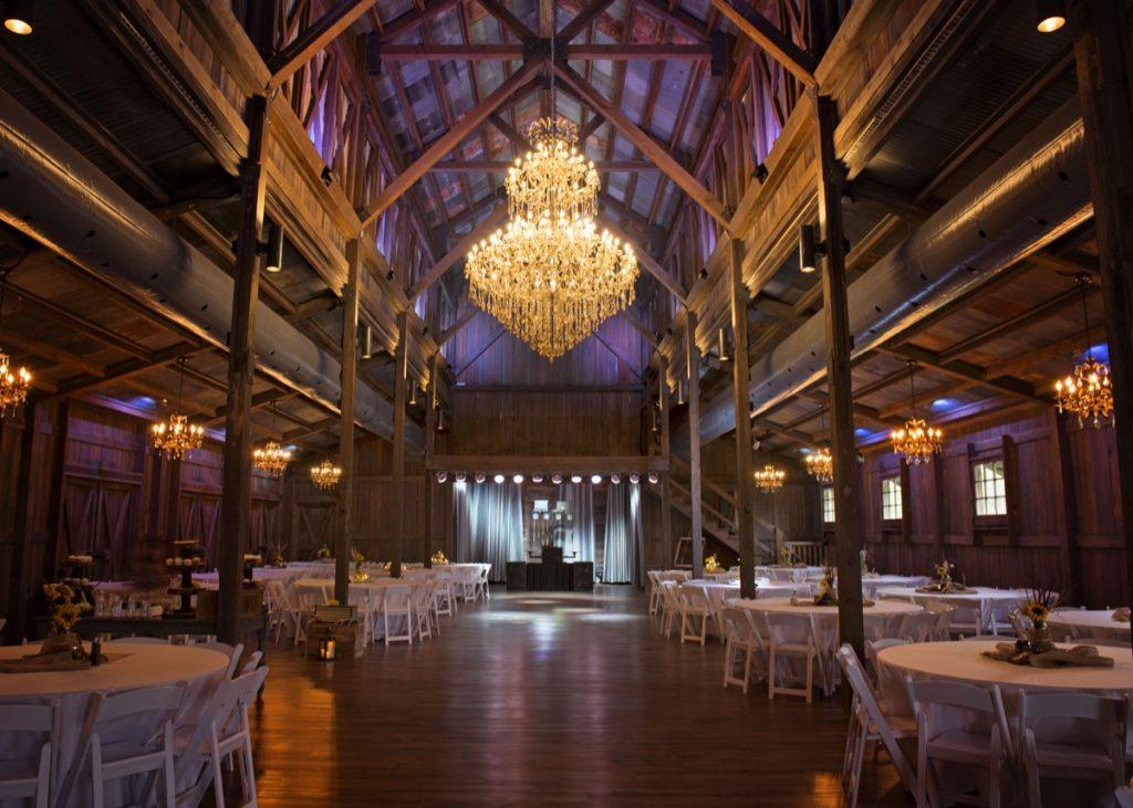 Inside the Eagle Dance Ranch Barn, showcasing the big chandelier!