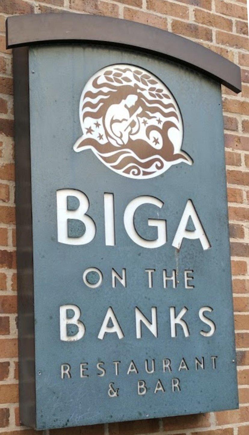 Biga on the Banks signage