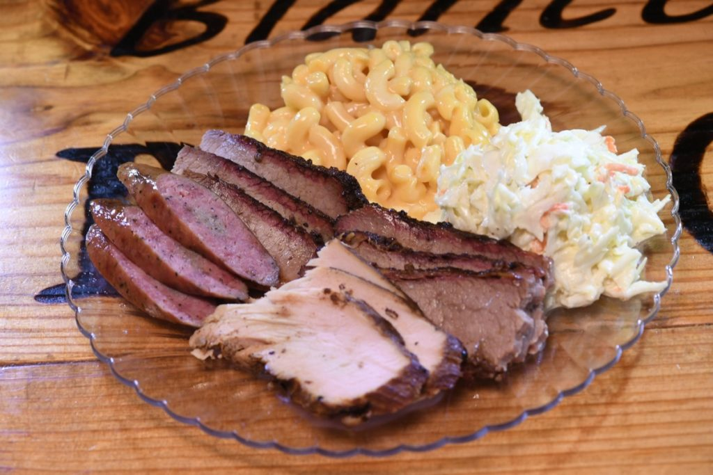 Three course meats! Turkey, Pork Sausage, and of course Brisket! Oh, and of course macaroni-and-cheese with some cole slaw can be found at Blanco BBQ.