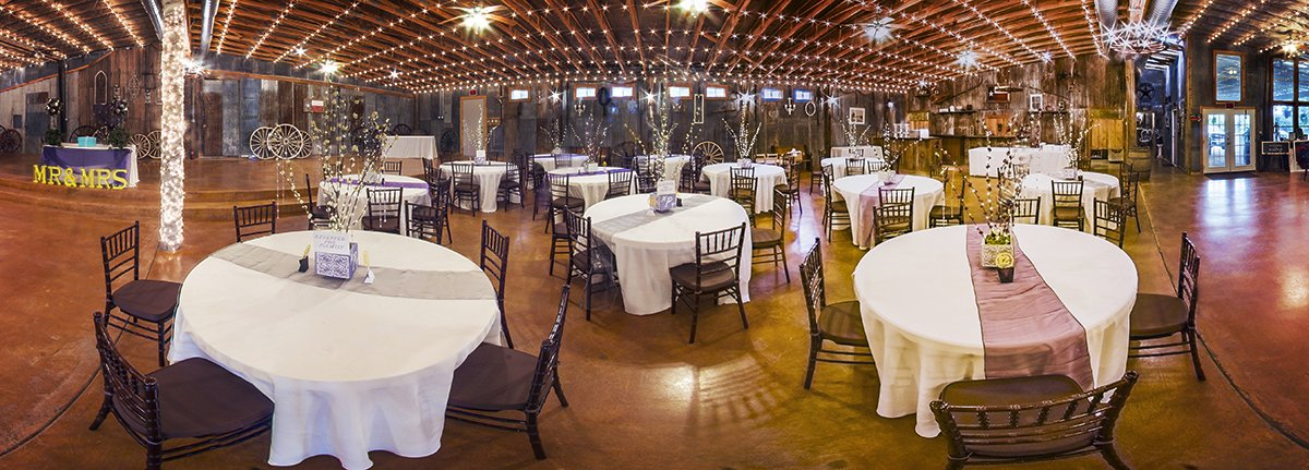 Carridge Hills Ranch-a very wide angle photo of the wedding banquet space.