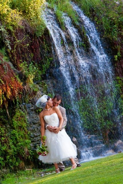 Canyon Springs Golf Club-a great place to picture a couple canoodling in front of a waterfall.