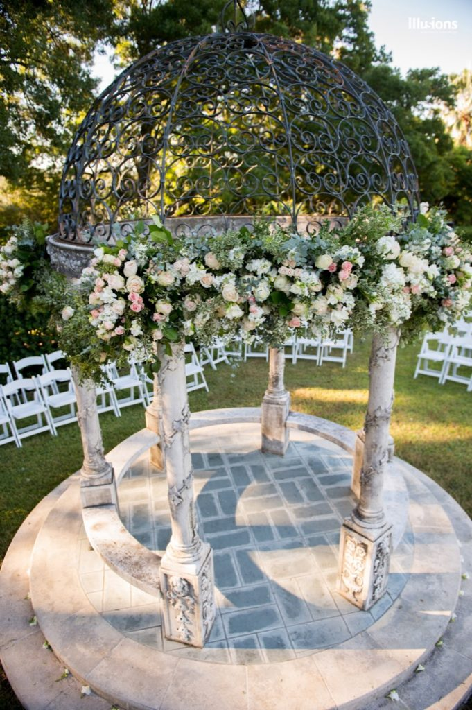 Illusions Tents, Rentals, & Design transforms this gazebo into a magical wedding spot!