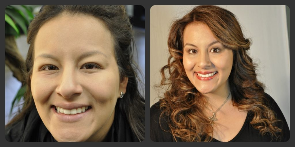 A beautiful woman with high spirits is transformed by Indulgences Hair & Body Salon!