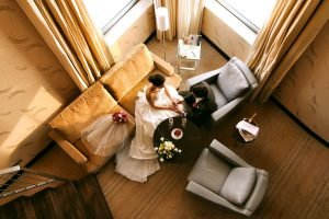 A bride and Groom contemplate their upcoming life as a couple at The Hilton San Antonio Airport.