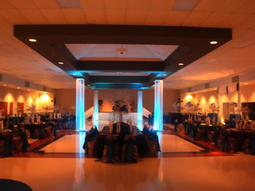 A dark version of the Las Fuentes by Emporium banquet space.