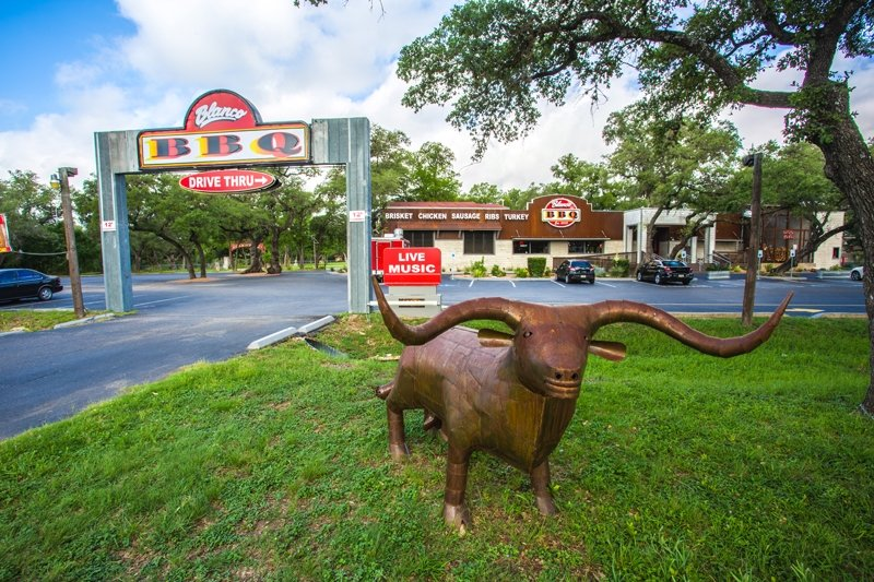 Blanco BBQ front facing the street named Blanco. The steer is a statue, BTW. No need for alarm.