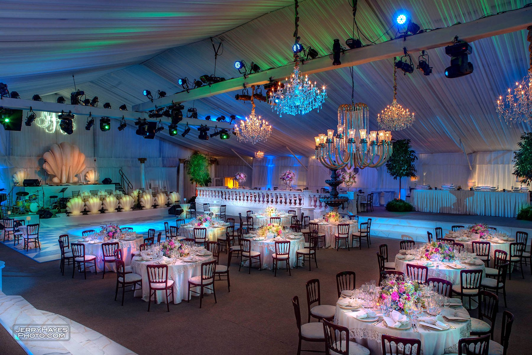 A magical banquet room as produced by Illusions Tents, Rentals, and Event Design!