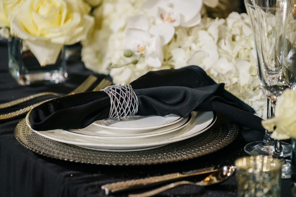 A close-up of the place setting from Illusions Rentals, & Design