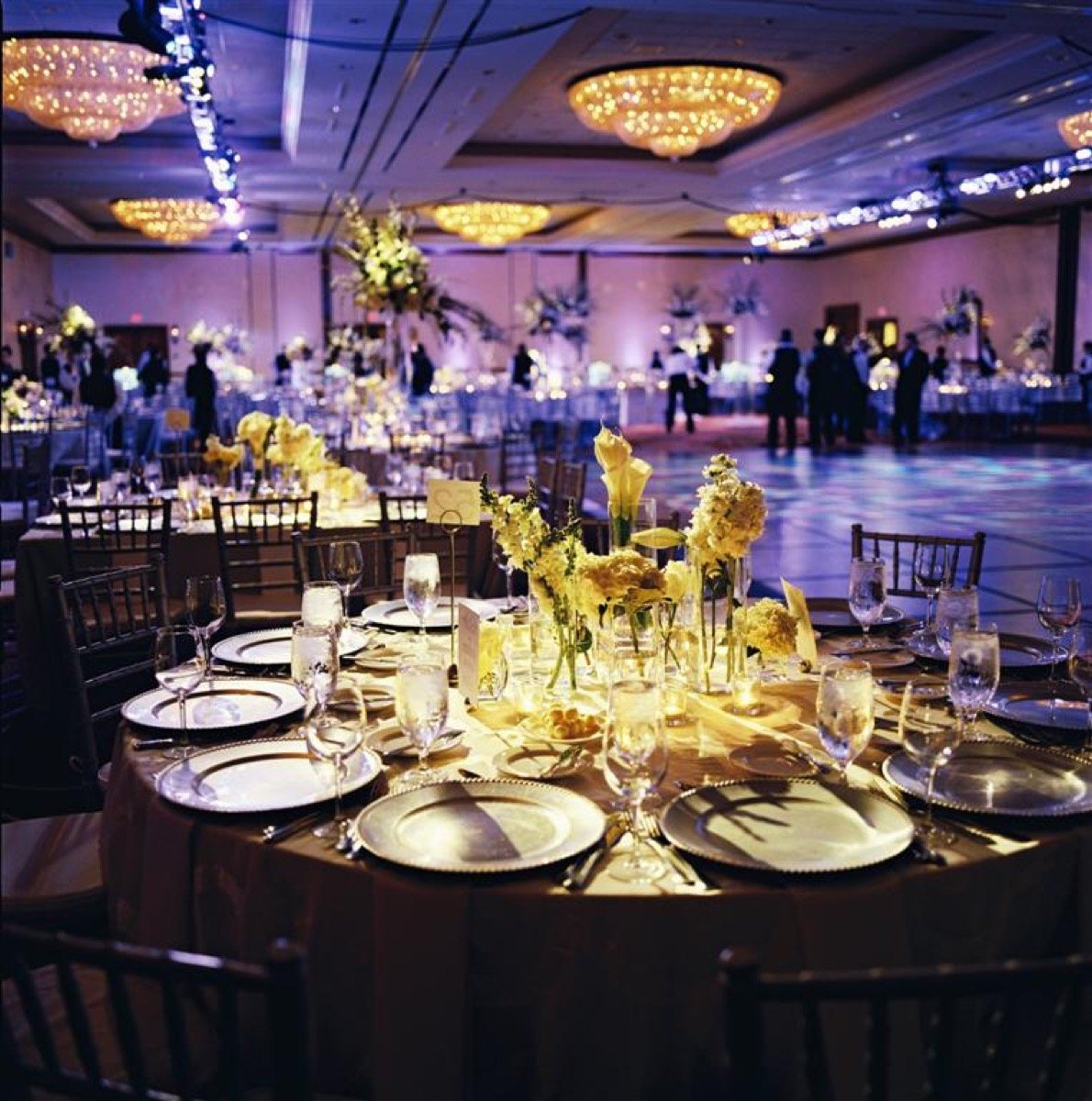 A golden centerpiece at the La Cantera Resort and Spa banquet.