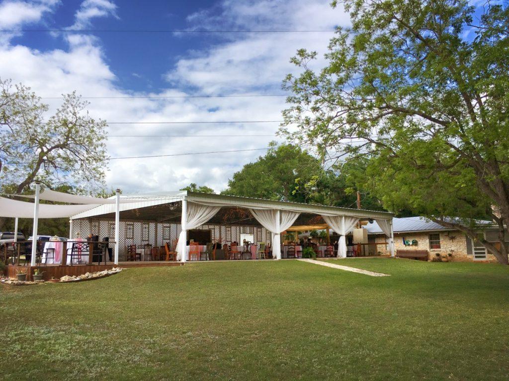 The back of the pavilion at La Escondida Celebration Center