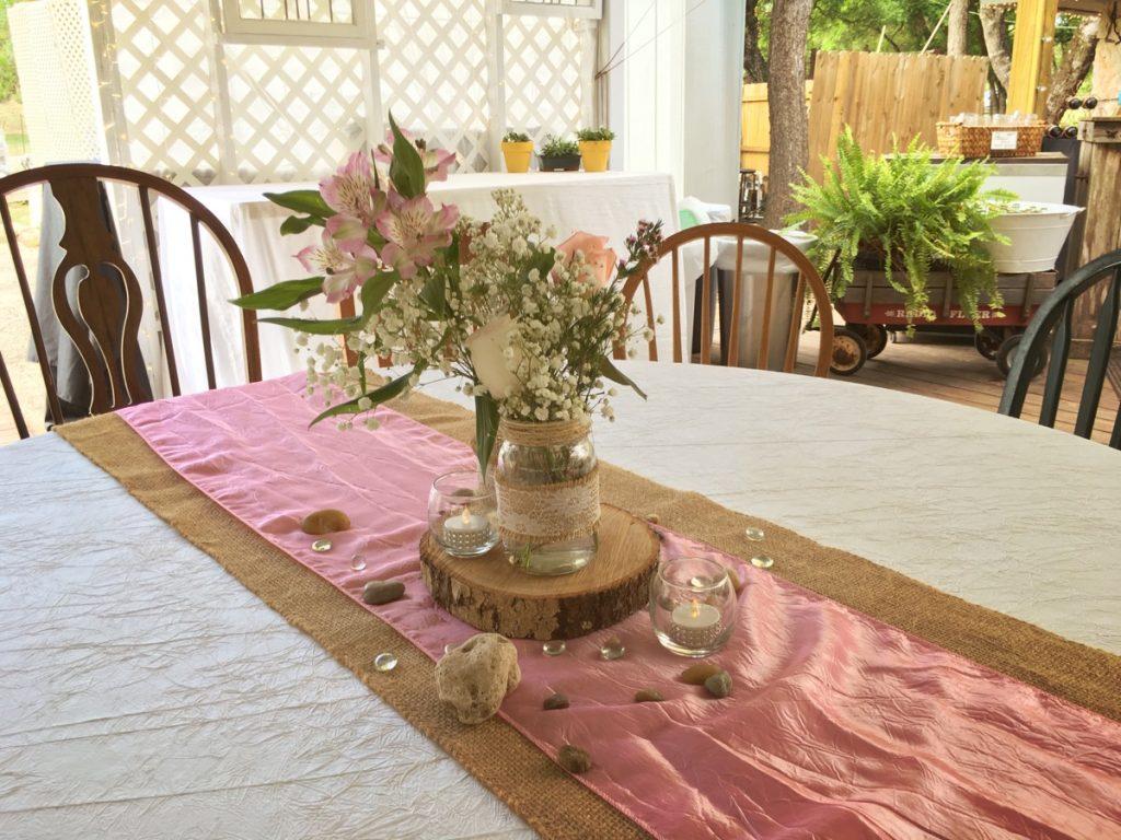 A banquet table in the pavilion at La Escondida Celebration Center.