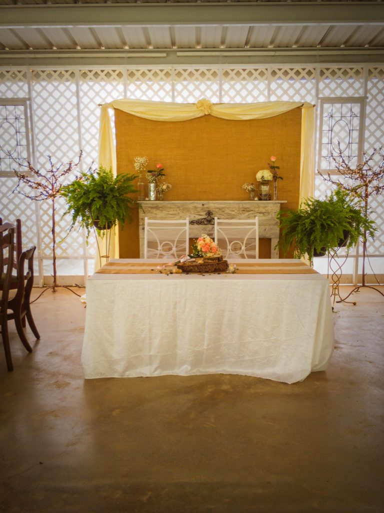 A mr.and Mrs. table in the Pavilion at La Escondida Celebration Center.