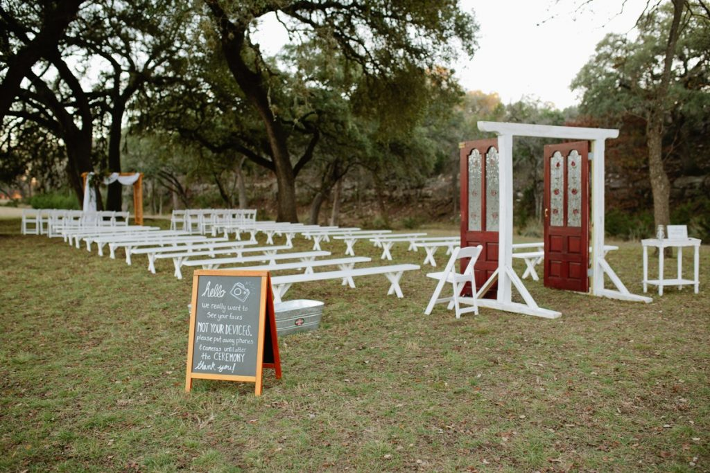 The outdoor ceremony is ready for visitors at the Eagle Dance Ranch.