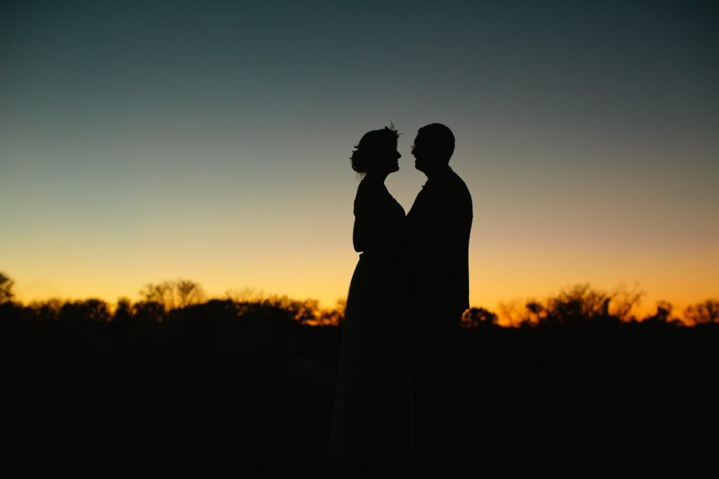 At Eagle Dance Ranch, it is nice to get away, especially for newlyweds at sunset.
