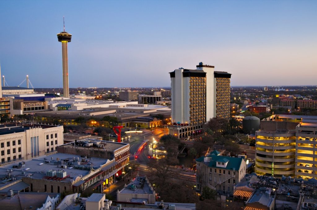 A skyline view of the Hilton Palacio del Rio, just lef you can see the Tower of the America.