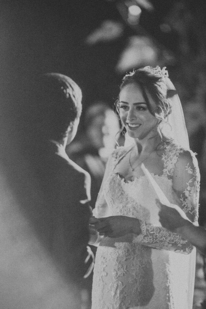 A black-and-white photo of the Bride and Groom at La Escondida Celebration Center