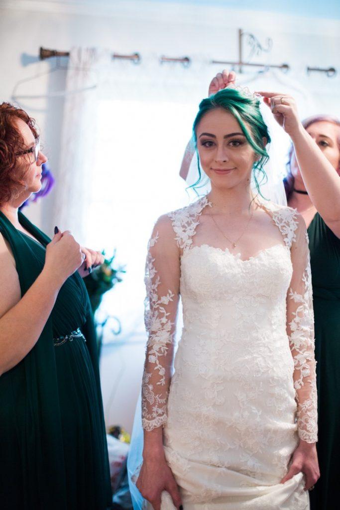 The happy bride at La Escondida Celebration Center