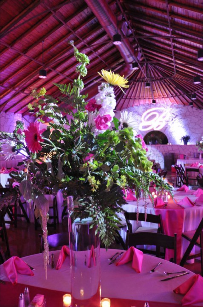 The centerpiece flowers seem to take on a celebrity-charged appearance as furnished by the lighting of Event Ignition!