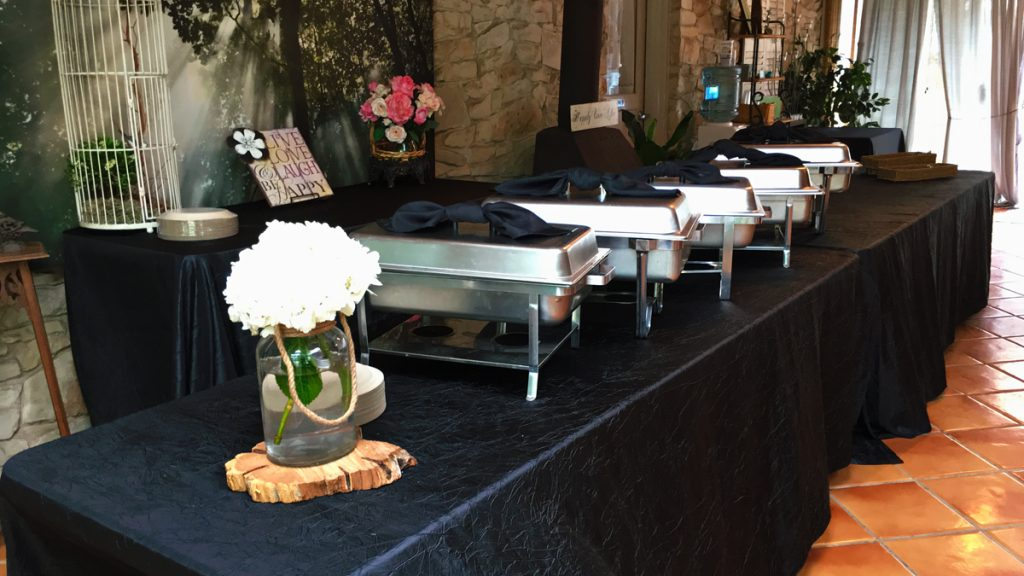 An all-you-can-eat buffet is ready to go at La Escondida Celebration Center
