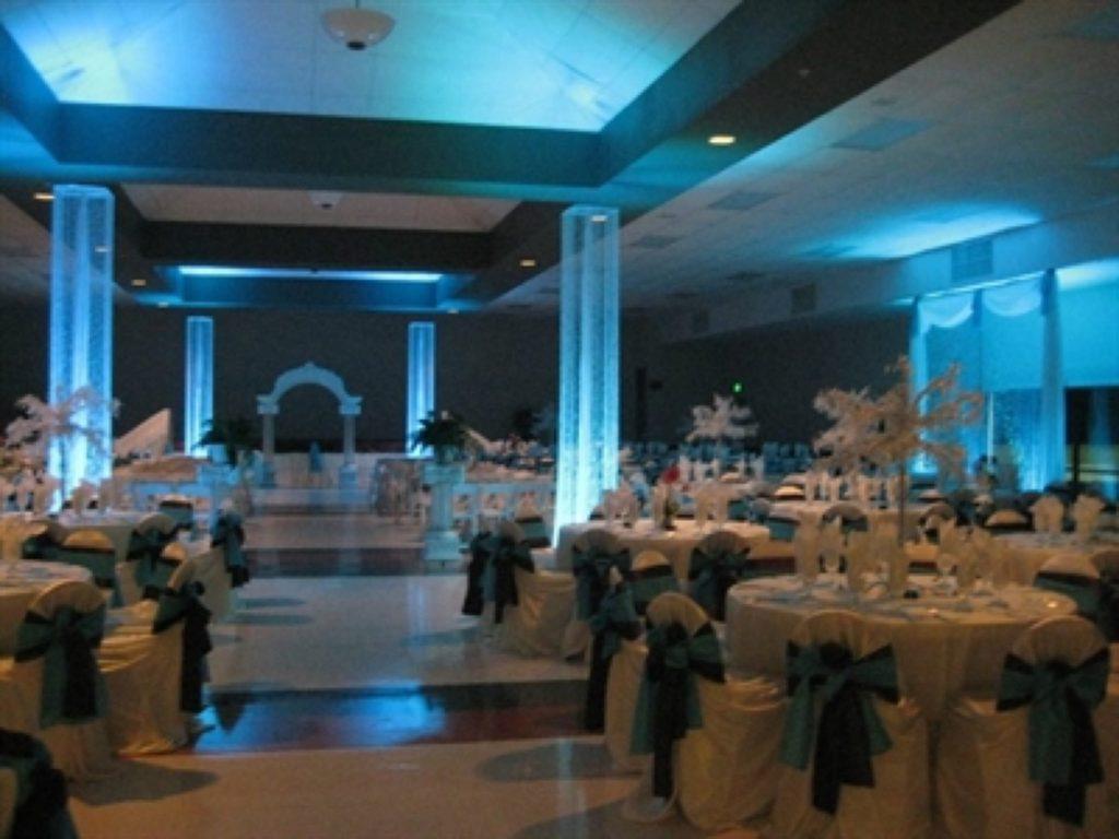 Blue lighting inside Las Fuentes by Emporium.