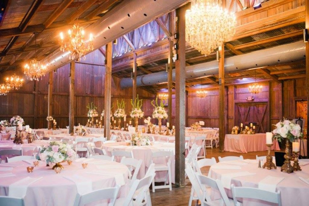 Inside the Eagle Dance Ranch barn, all set-up for a glorious wedding banquet.