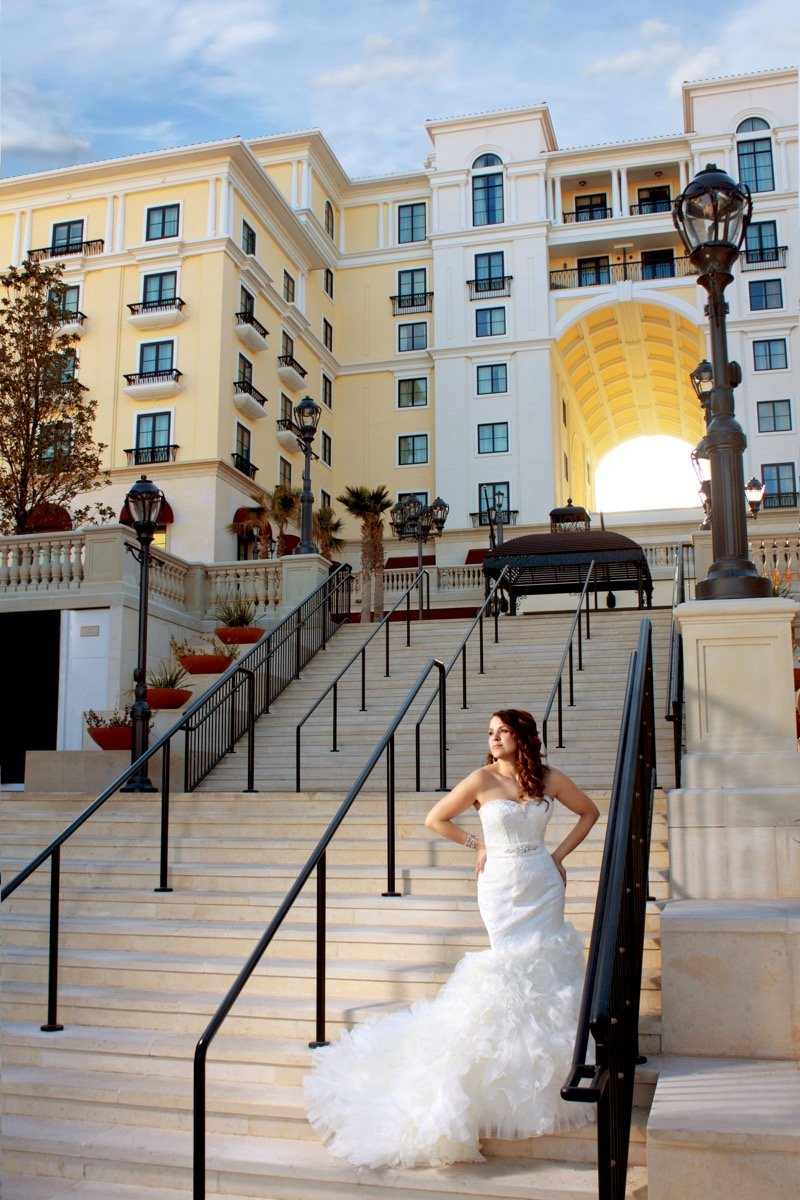 Is it a model or a bride looking for her groom at the stairs leading up to The Eilan Hotel Resort and Spa.