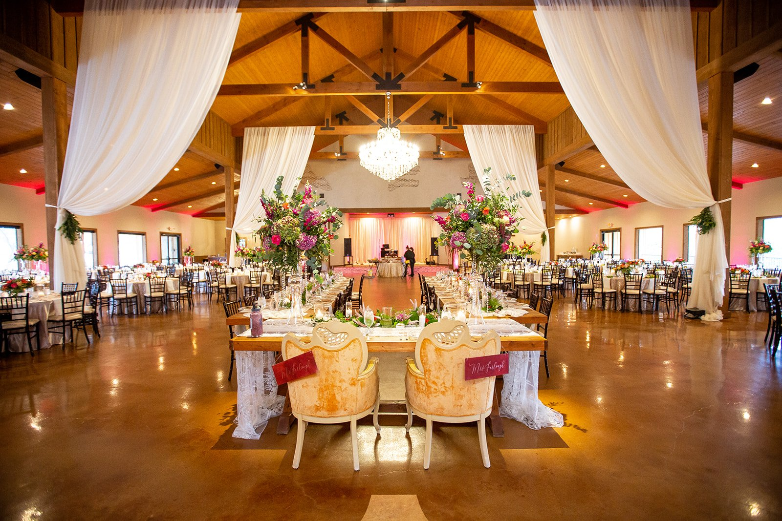 The Chandelier of Gruene banquet space.