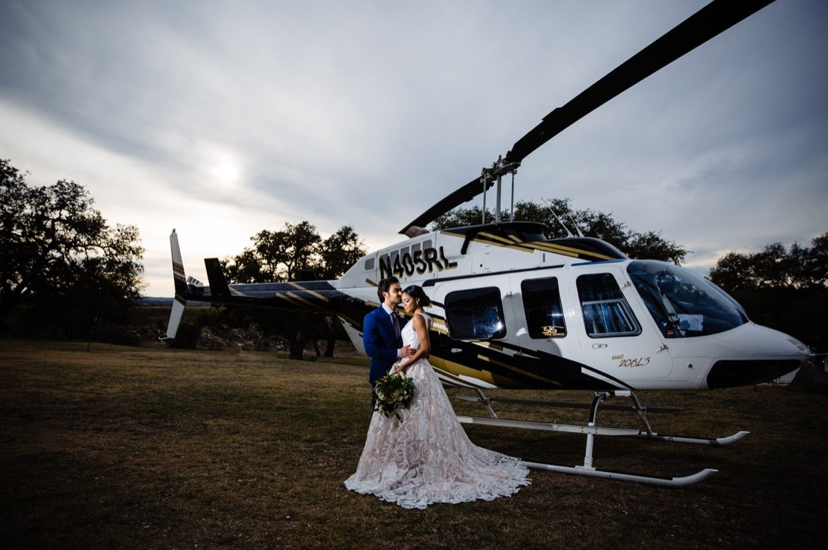 Carrige Hills Ranch -helicopter-BridalBuzz-San Antonio Weddings