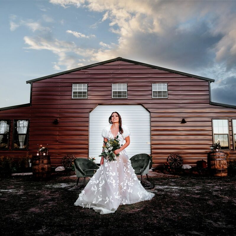 Circle J Ranch - Bride in front of the barn