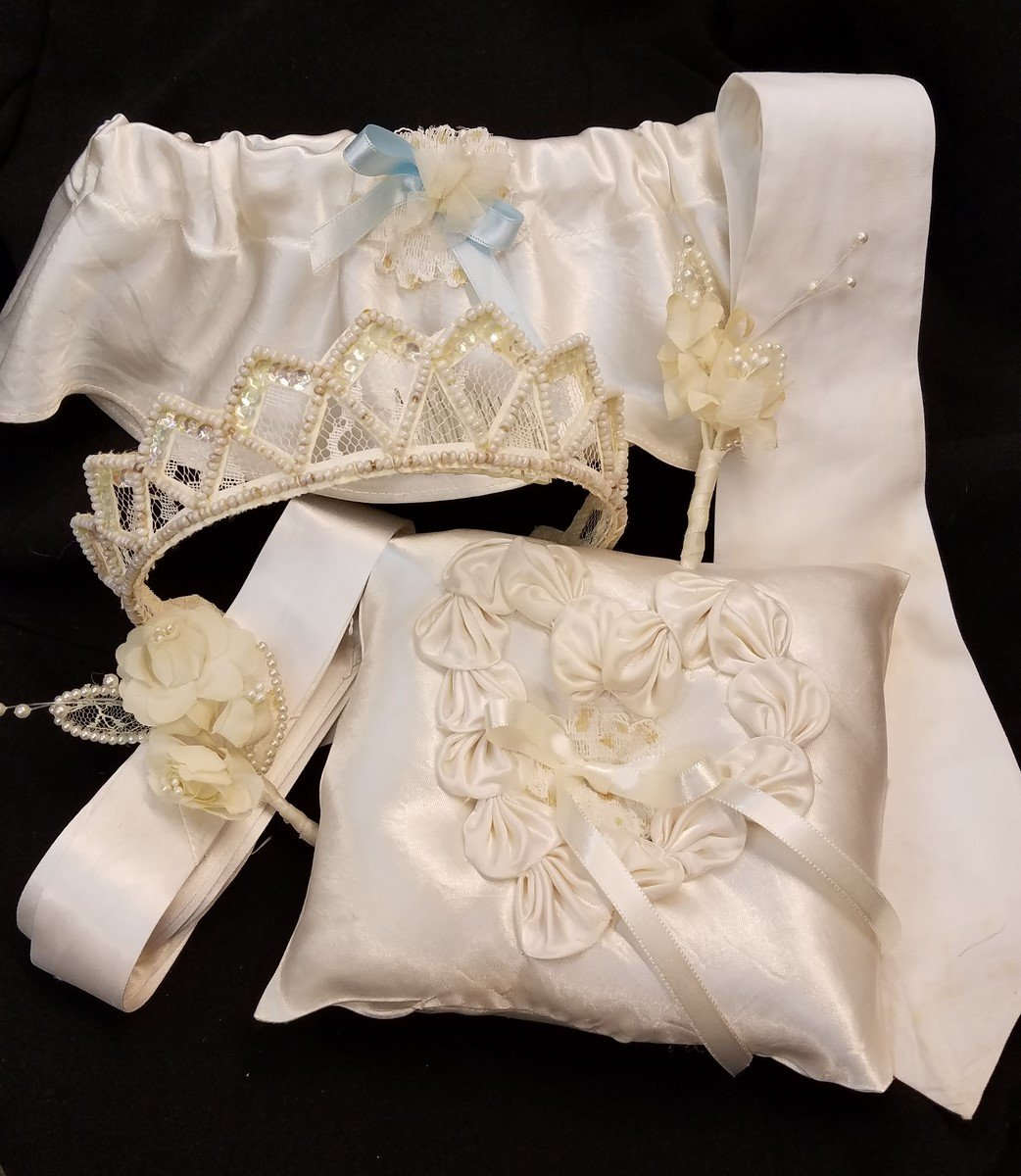 Completed items made from old wedding gown