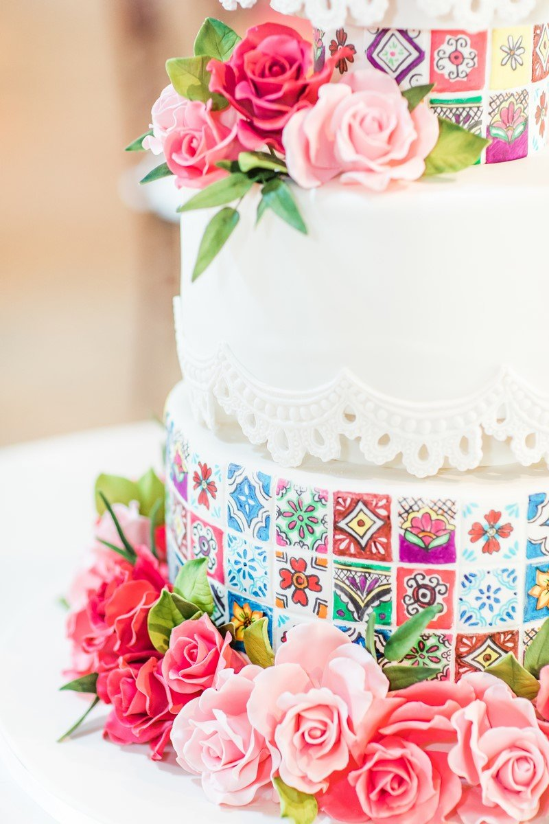 san antonio wedding cakes with talavera tiles
