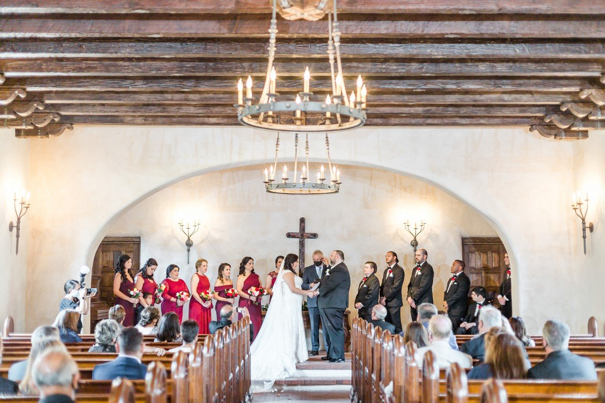 wedding ceremony lost missions wooden ceiling