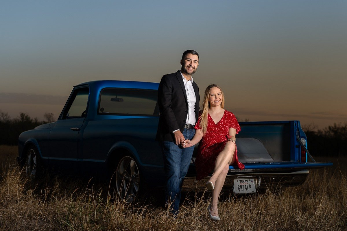 texas sunset bright blue truck in field engagement photo