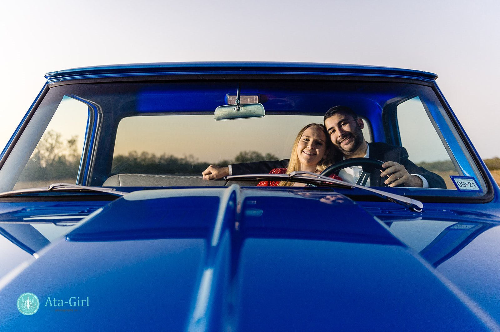 blue truck in texas field beautiful sunset country engagement photos