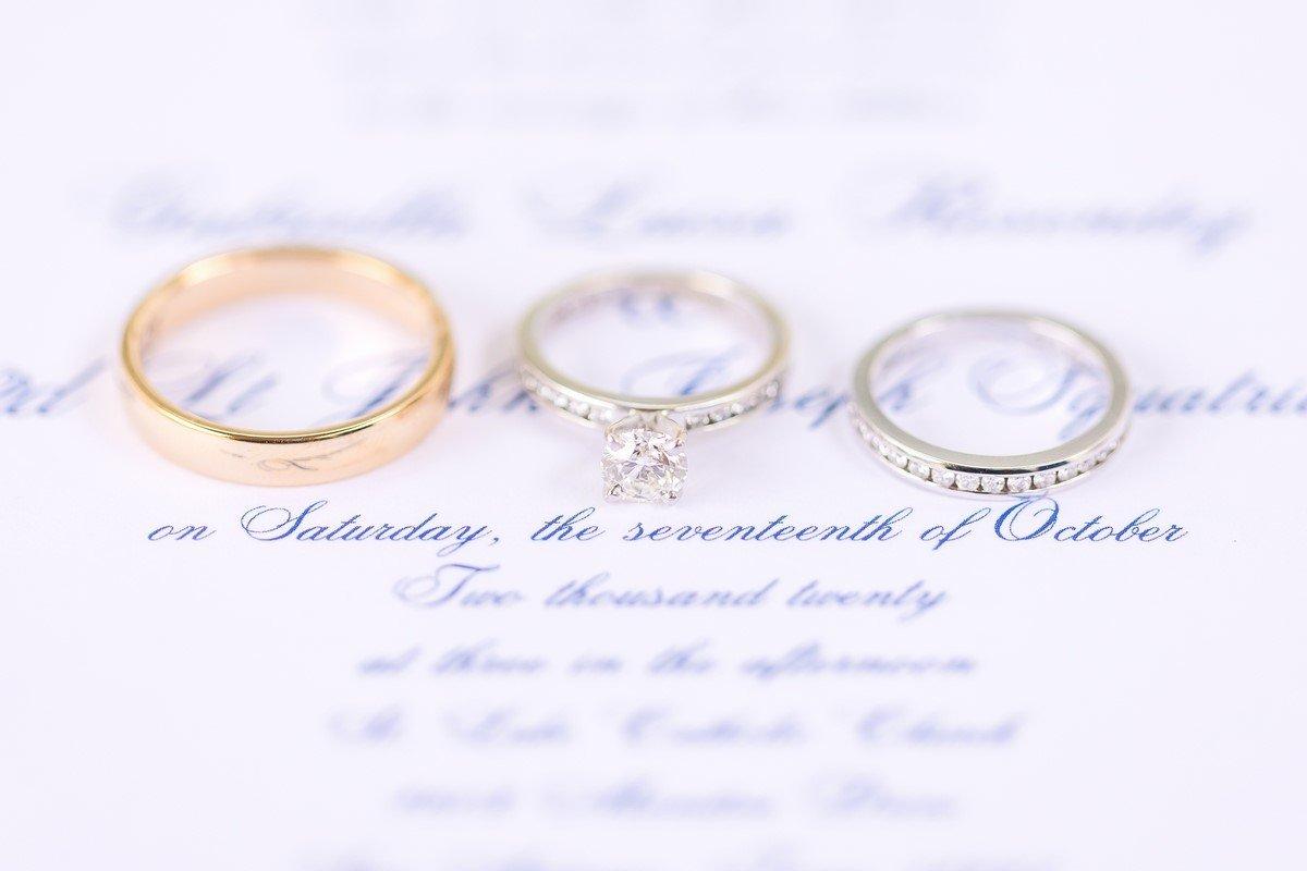 San Antonio wedding rings on wedding invitation