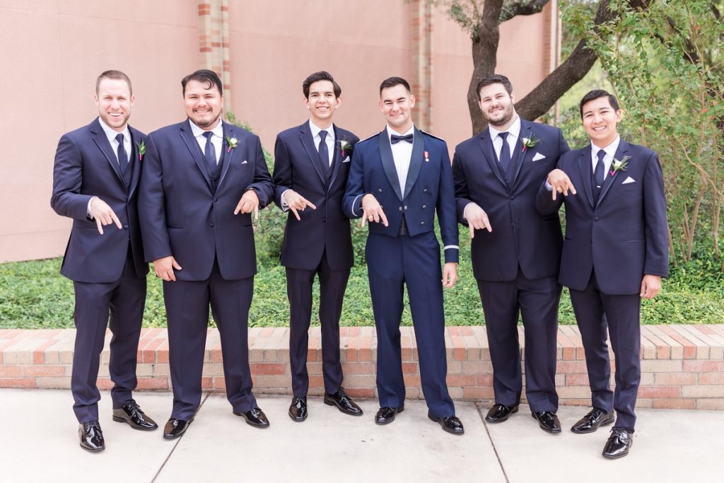 horns down groomsmen aggie wedding