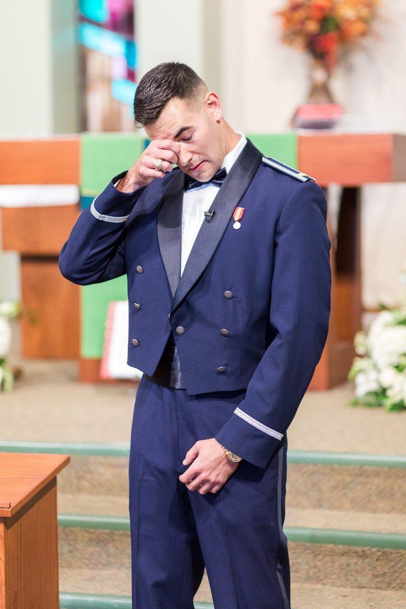 San Antonio groom aggie waiting for his bride