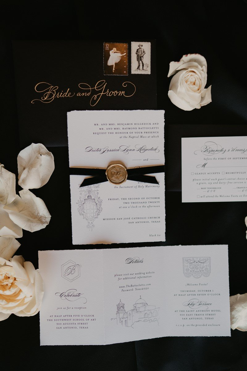San Antonio weddings stationary and invitations